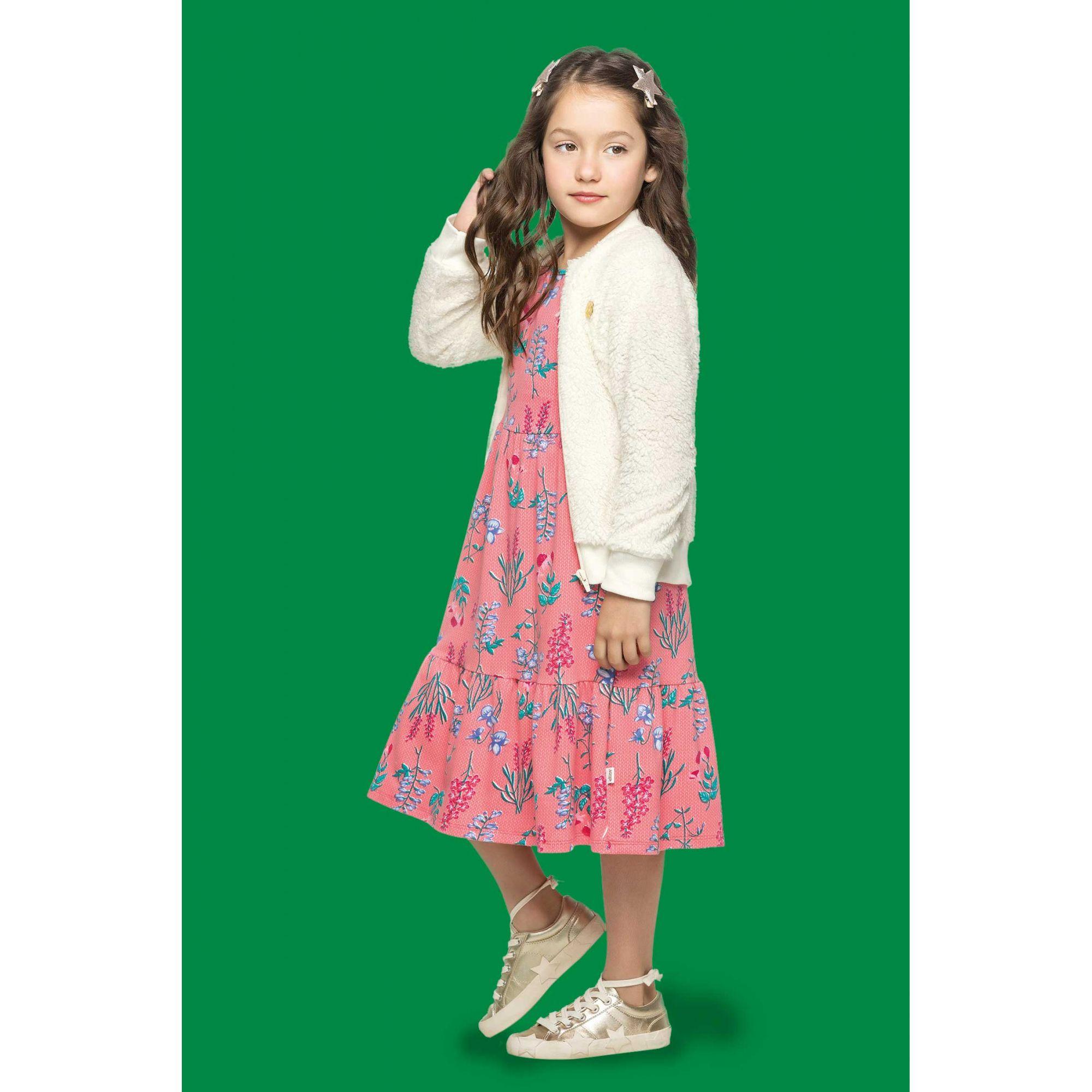 Vestido Infantil Inverno Rosa Flores Elian