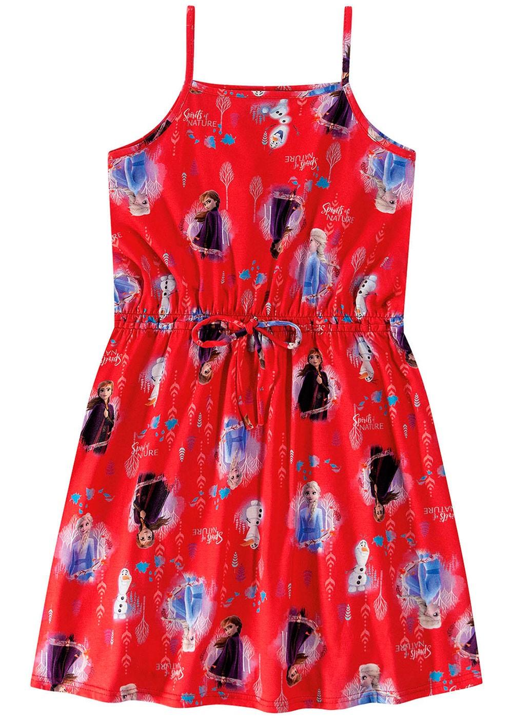 Vestido Infantil Verão Vermelho Frozen Malwee