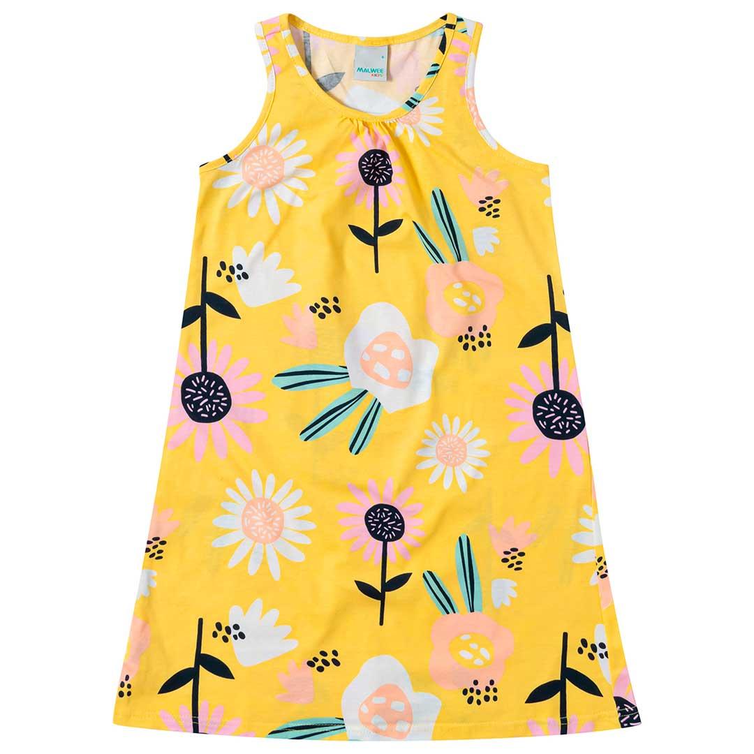 Vestido Infantil Malwee Curto Amarelo Flores