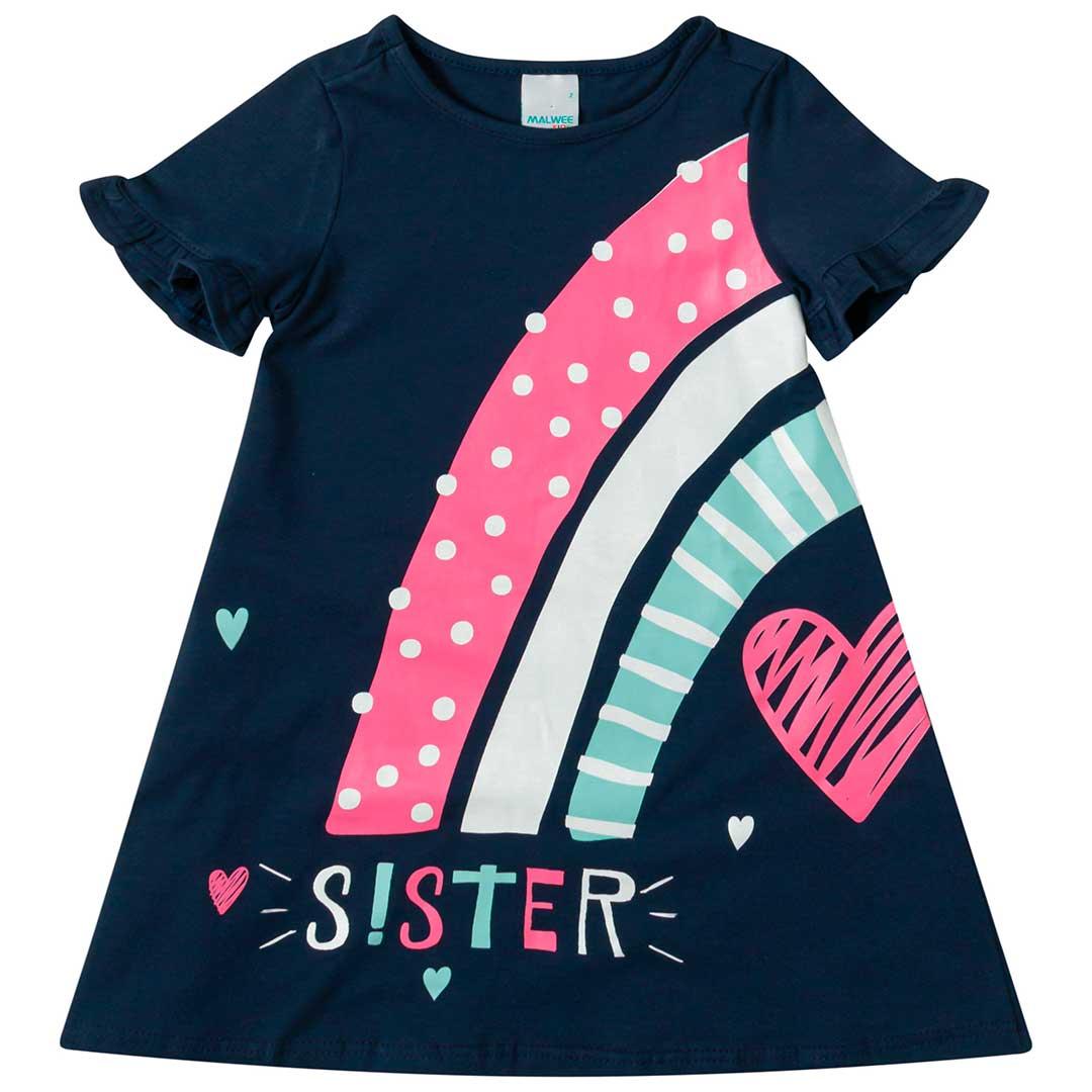 Vestido Infantil Malwee Curto Azul Sister