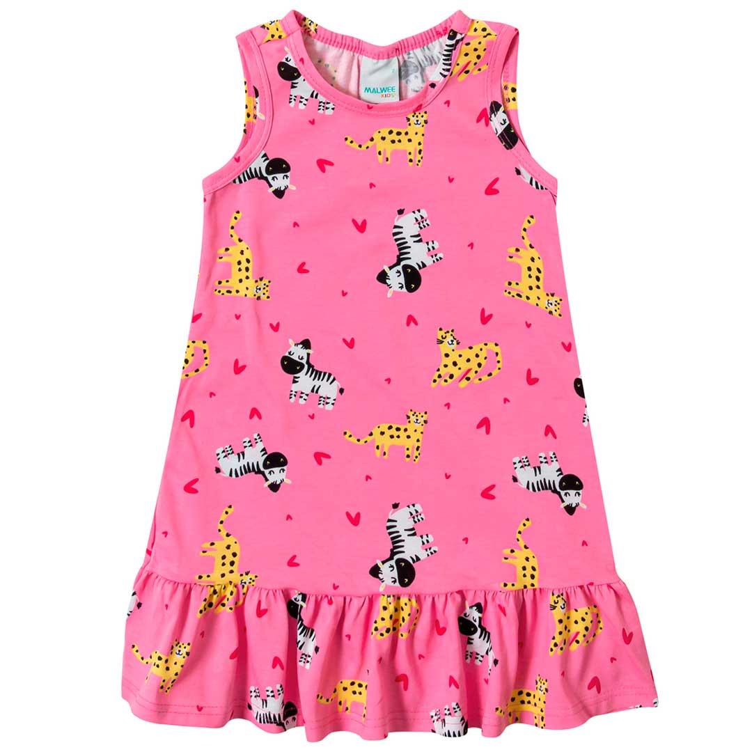Vestido Infantil Malwee Curto Rosa Love Safari