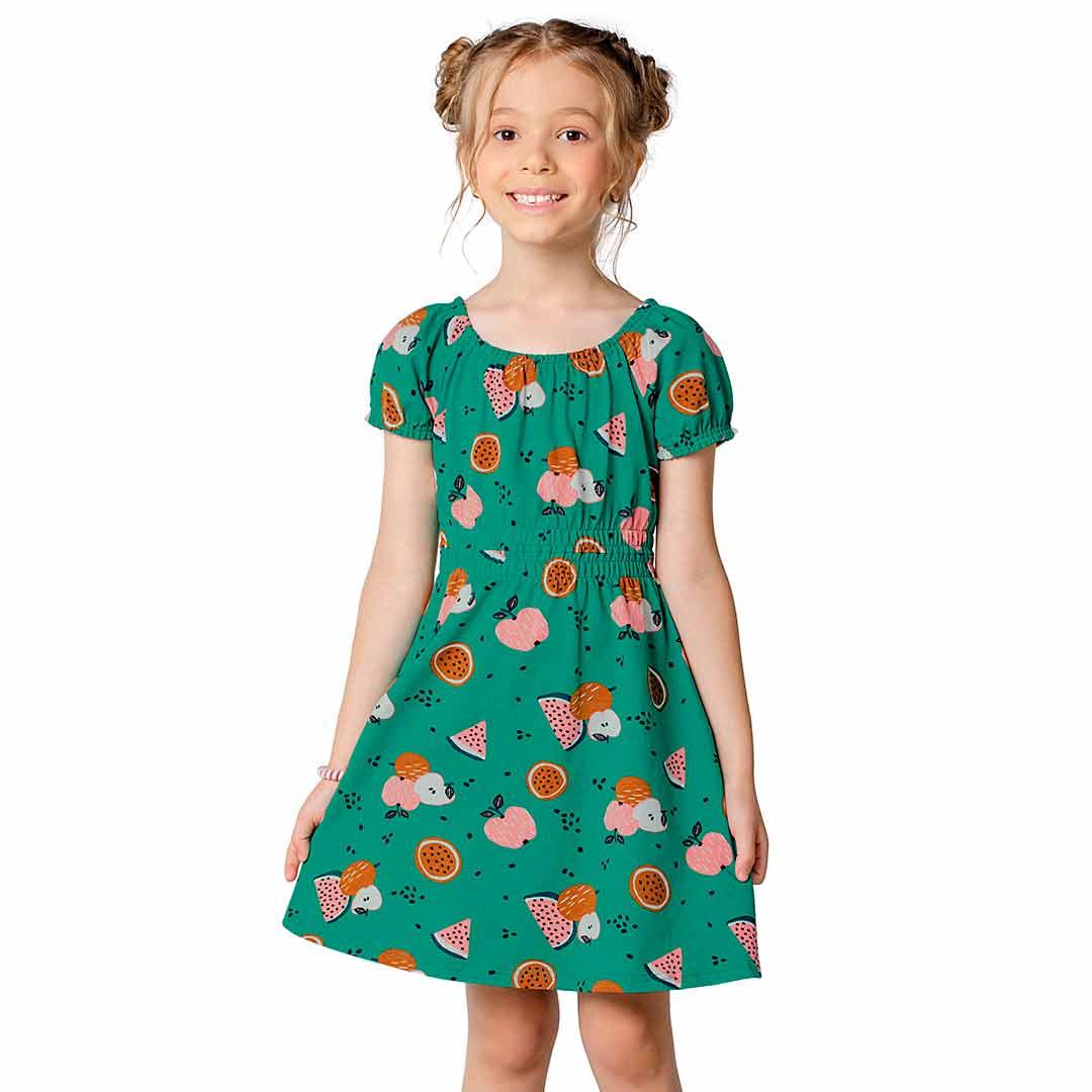 Vestido Infantil Malwee Curto Verde Frutas