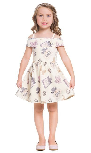 Vestido Infantil OffWhite Laço Milon
