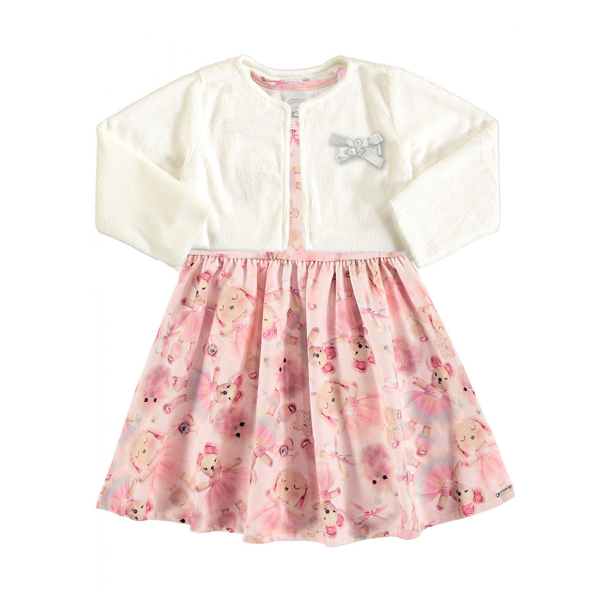 Vestido Infantil Inverno Branco Cute Alakazoo