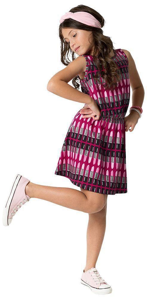Vestido Infantil Rosa Batom Kyly