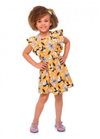 Vestido Infantil Verão Amarelo Floral Milon