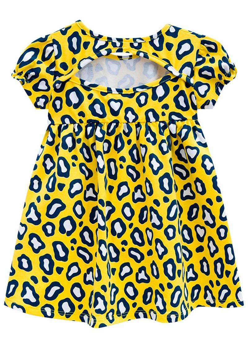Vestido Infantil Verão Amarelo Oncinha Kyly
