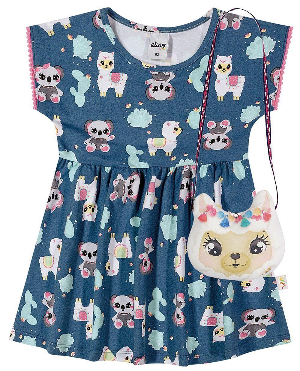 Vestido Infantil Verão Azul Bichinhos Elian