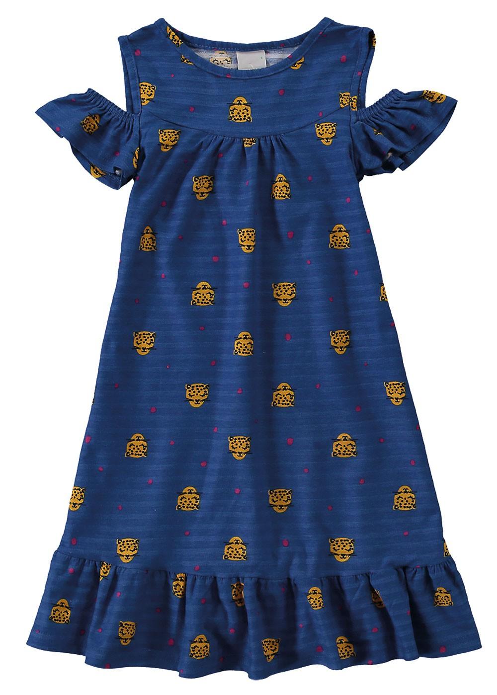 Vestido Infantil Verão Azul Cats Malwee