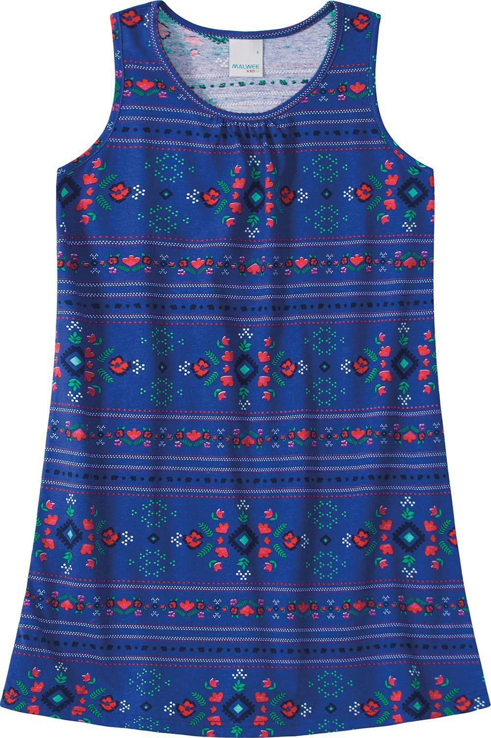 Vestido Infantil Verão Azul Flor Malwee