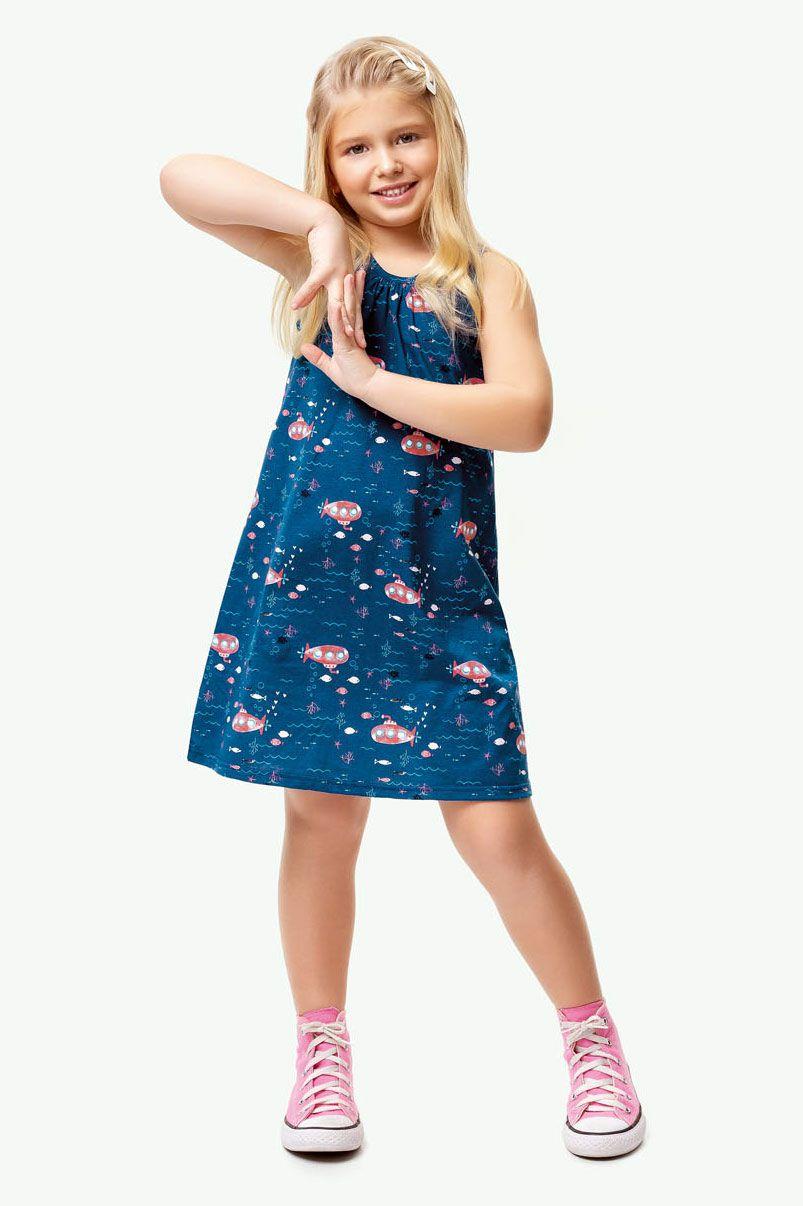 Vestido Infantil Verão Azul Submarino Malwee