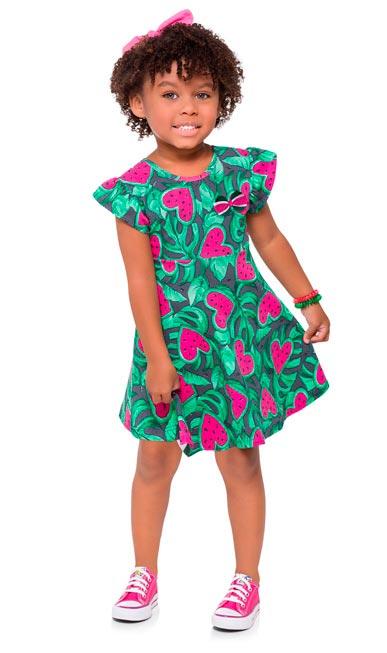 Vestido Infantil Verão Branco Watermelon Kyly