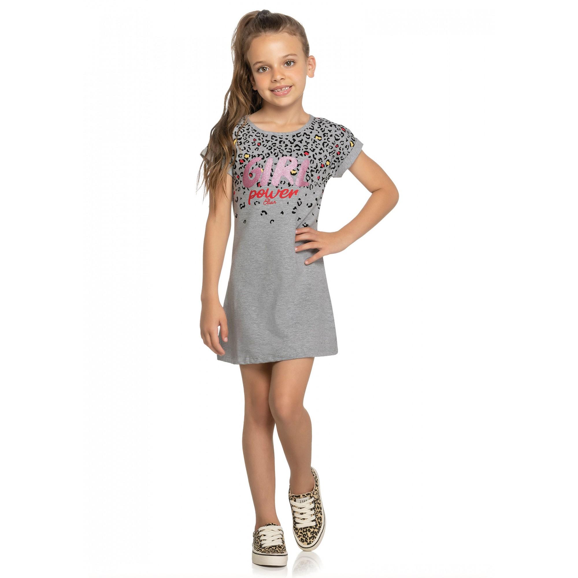Vestido Infantil Verão Cinza Girl Elian