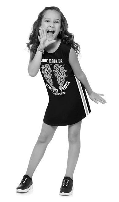 Vestido Infantil Verão Cinza Warrior Kyly