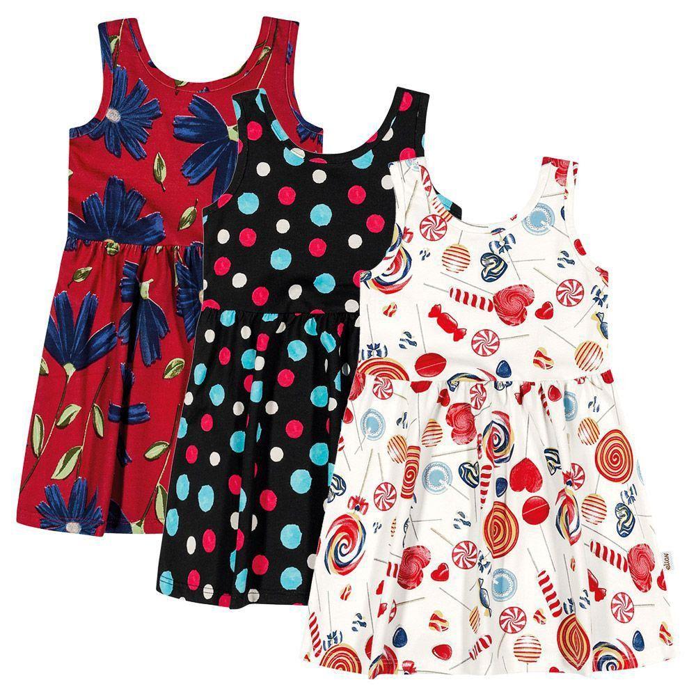 Kit com 3 Vestido Infantil Verão Estampas Elian