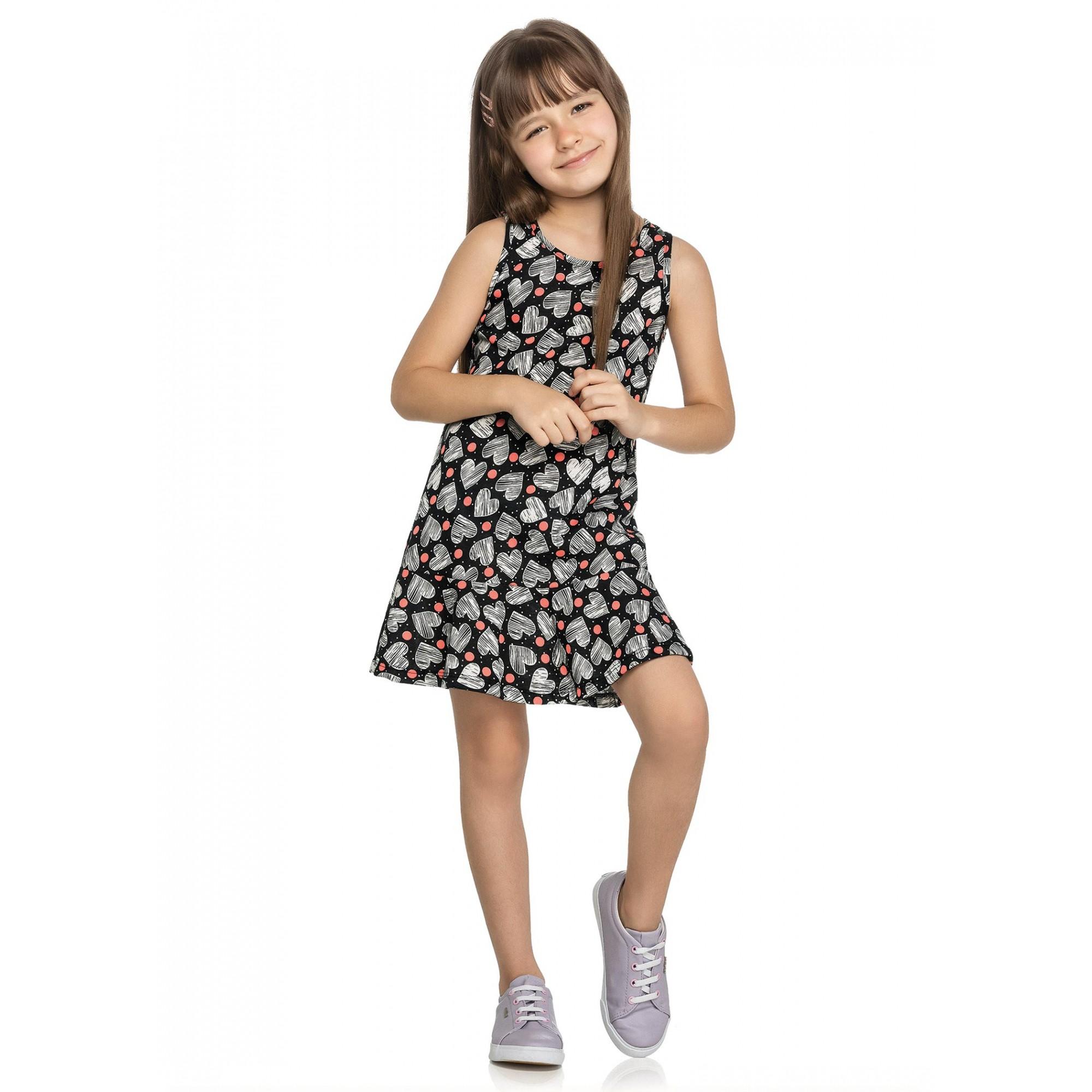 Vestido Infantil Verão Preto Coração Elian