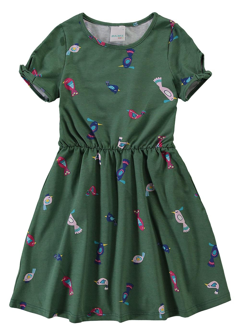 Vestido Infantil Verão Verde Birds Malwee