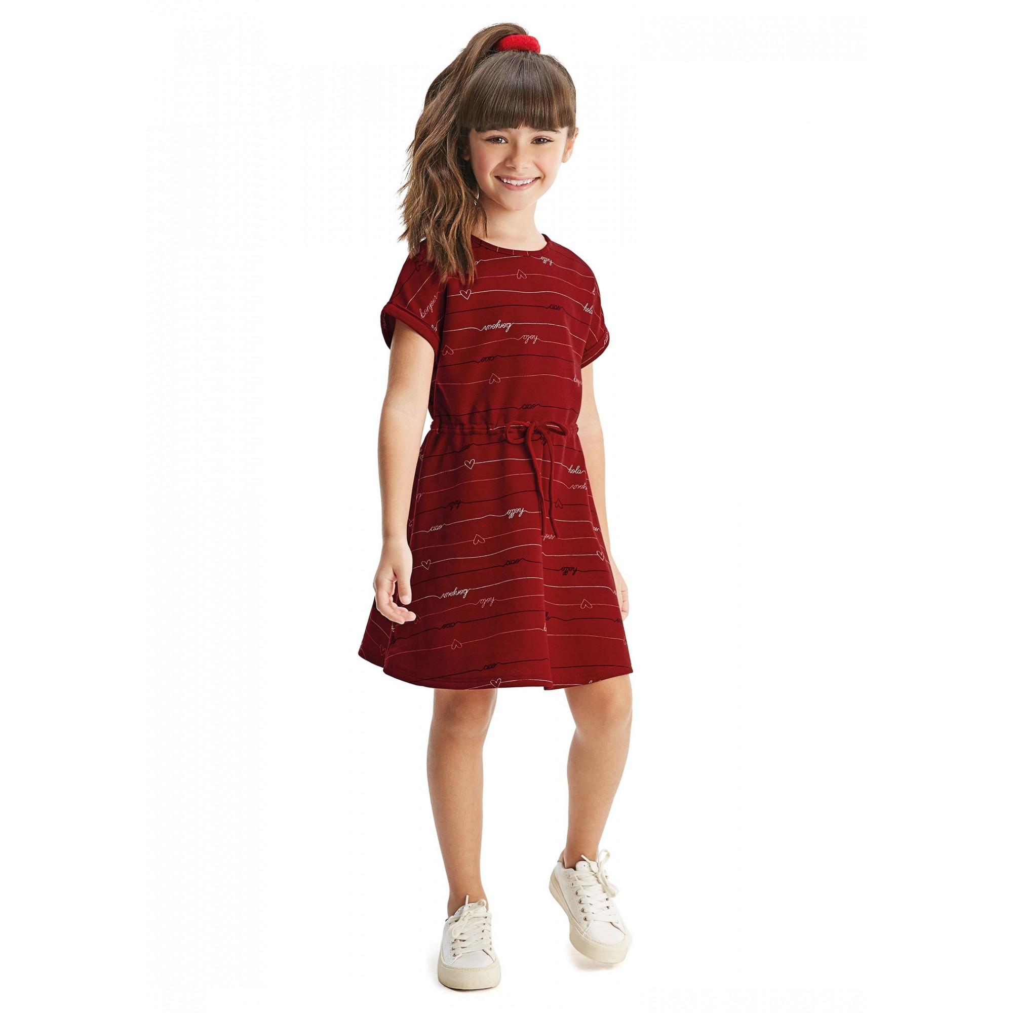 Vestido Infantil Verão Vermelho Bonjour Malwee