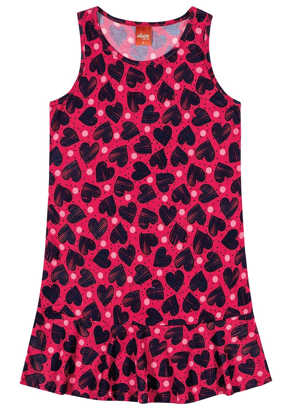 Vestido Infantil Verão Vermelho Coração Elian