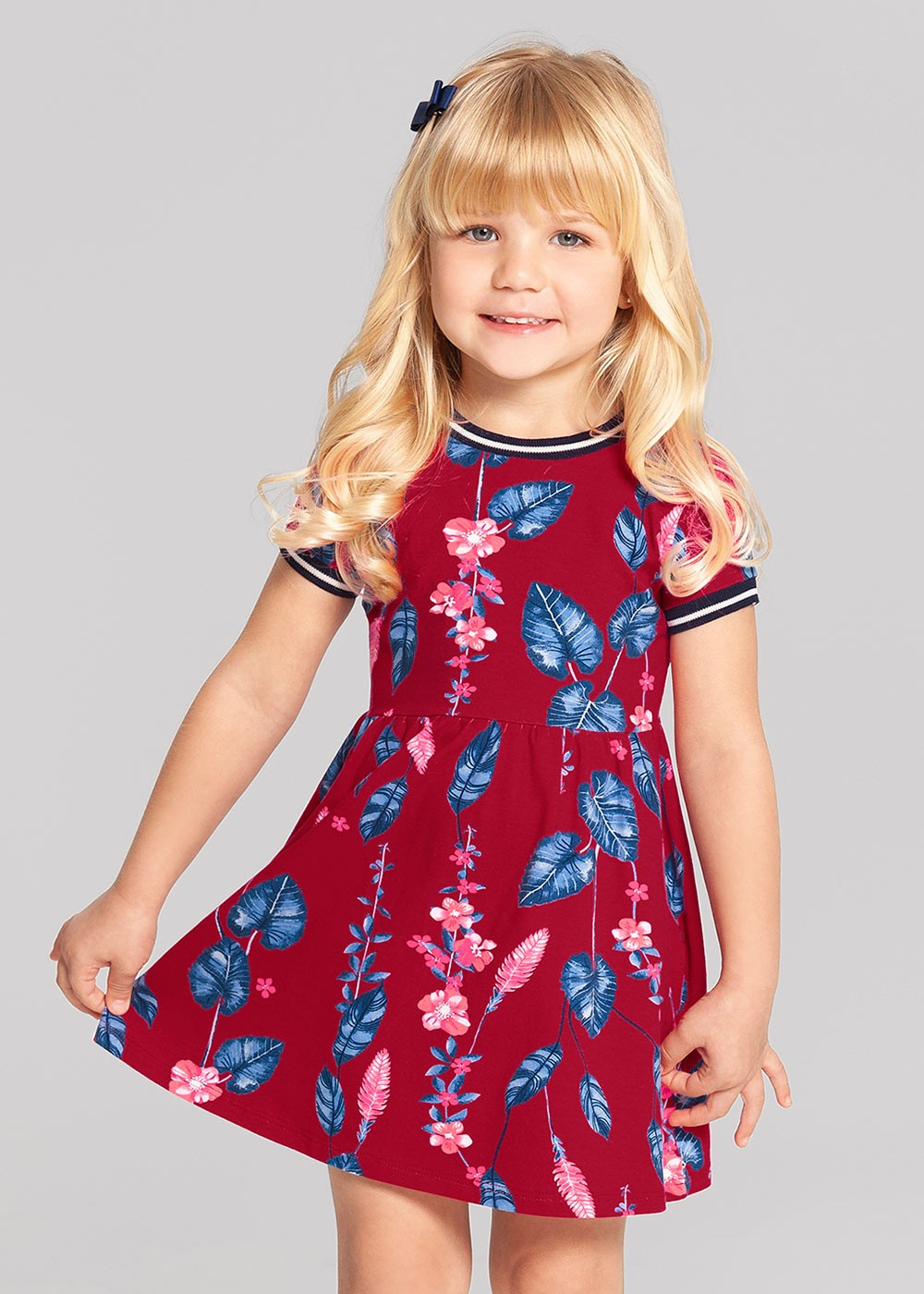 Vestido Infantil Verão Vermelho Leaves Alakazoo