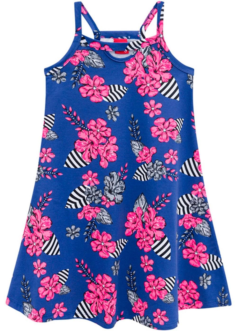 Vestido Infantil Verão Azul Flores Kyly