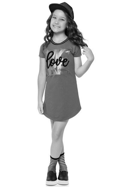 Vestido Infantil Verão Cinza Love Kyly
