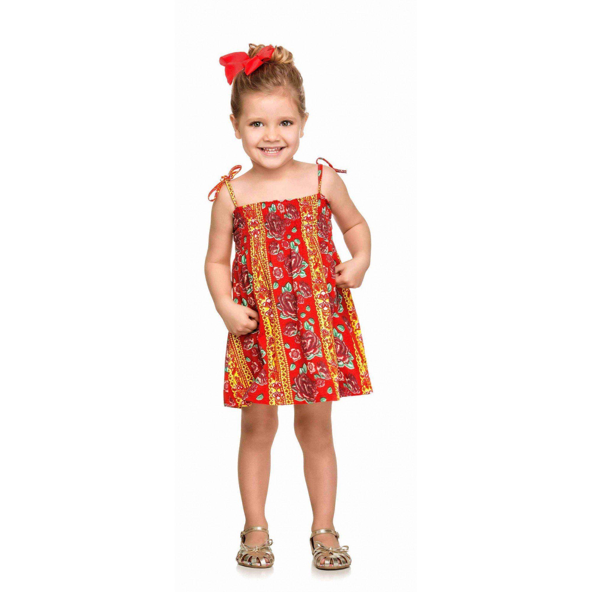 Vestido Infantil Laranja Flores Elian