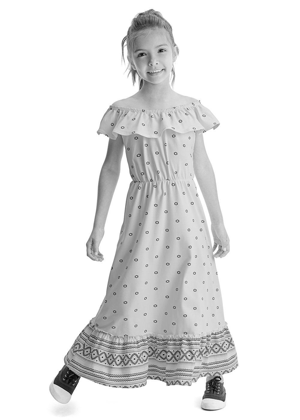 Vestido Longo Infantil Salmão Estrela Malwee