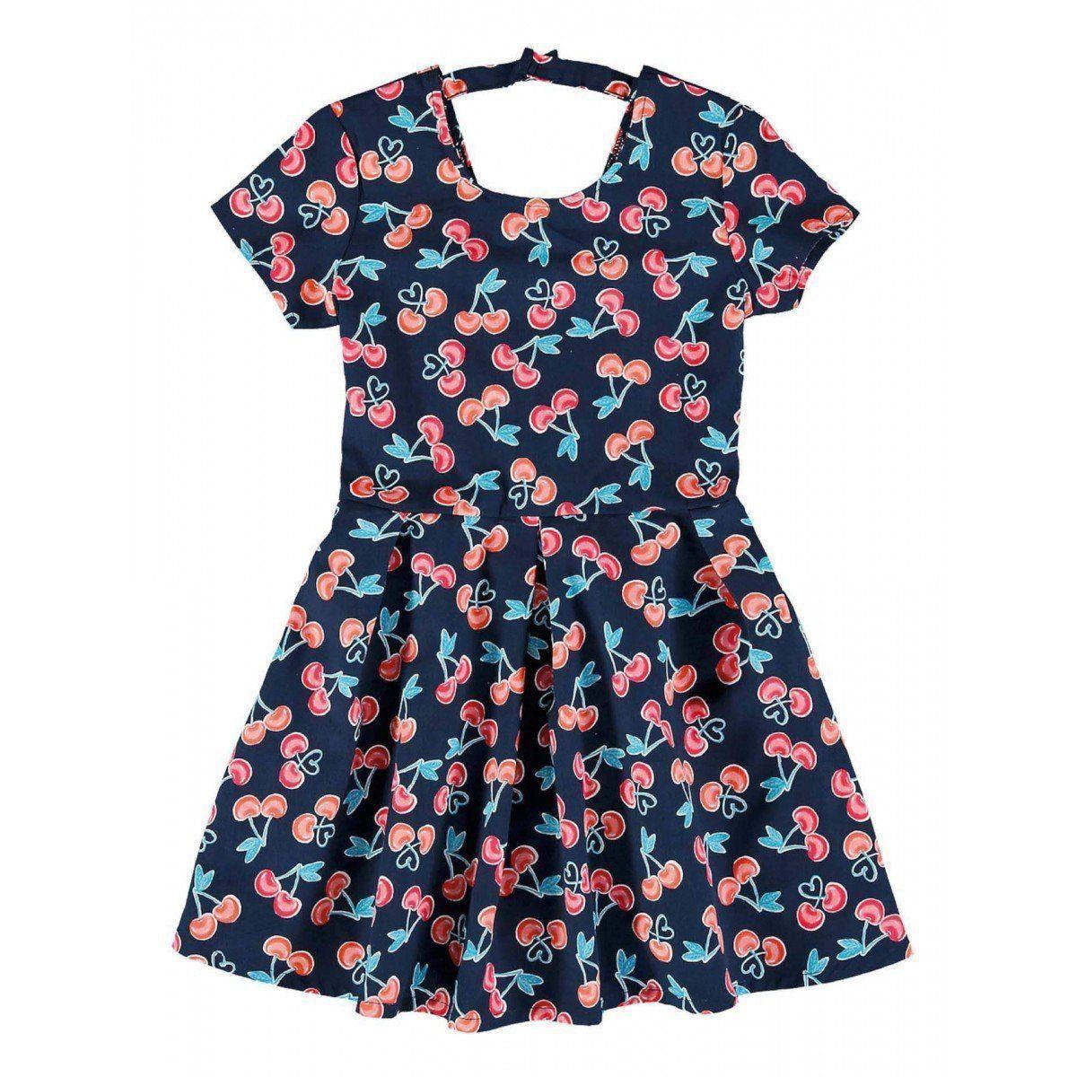Vestido Infantil Azul Marinho Cerejinha Malwee