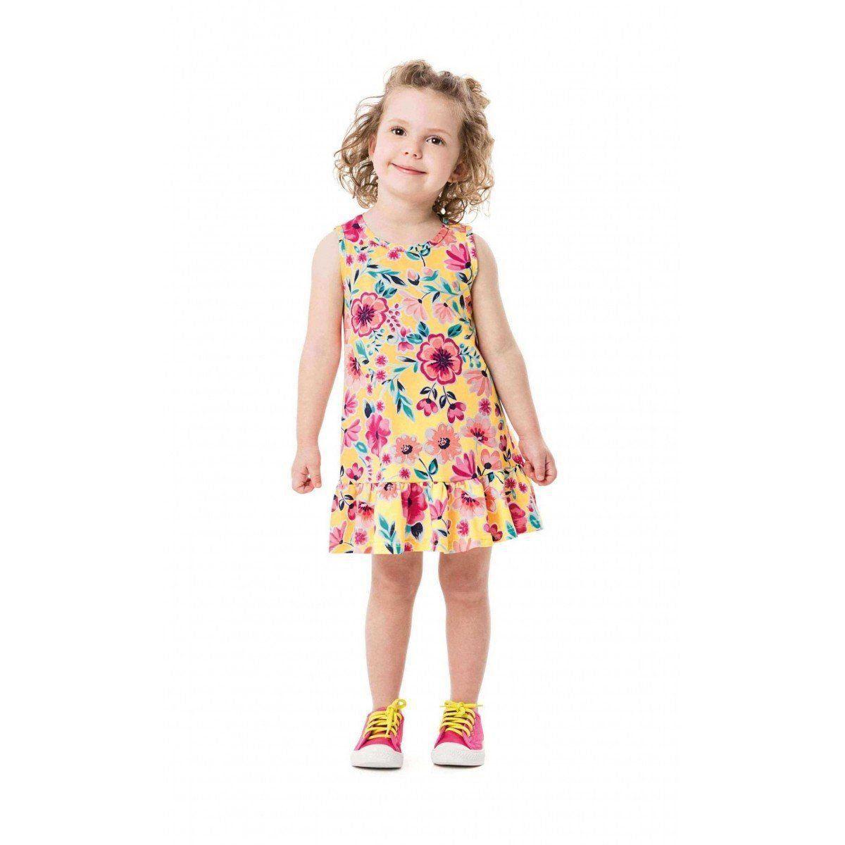 Vestido Infantil Amarelo Flor Malwee