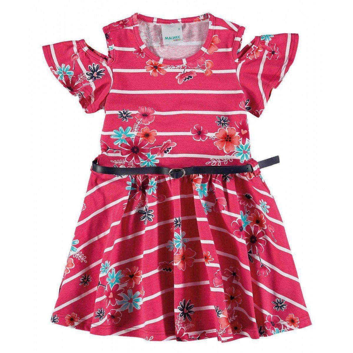 Vestido Infantil Rosa Listras Malwee