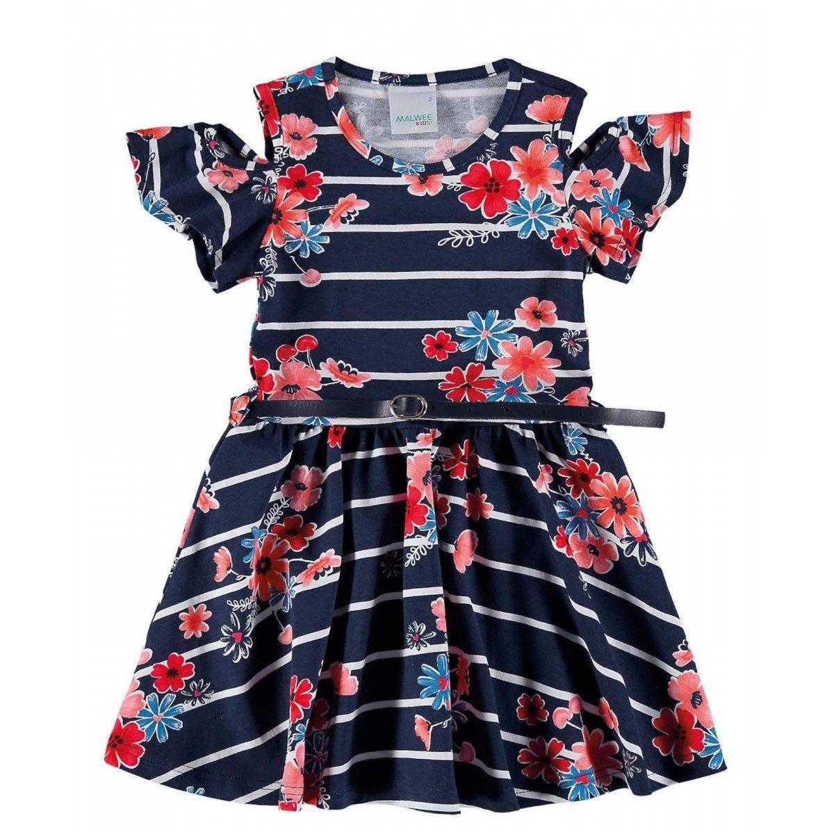 Vestido Infantil Azul Marinho Listras Malwee