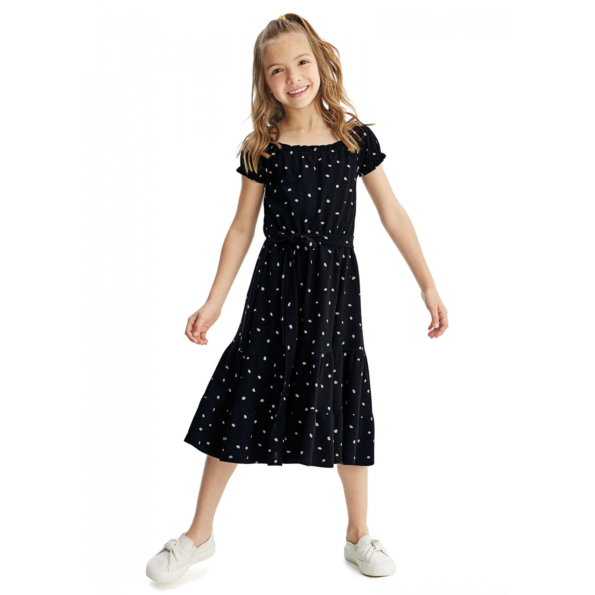 Vestido MIDI Infantil Verão Preto Poá Malwee