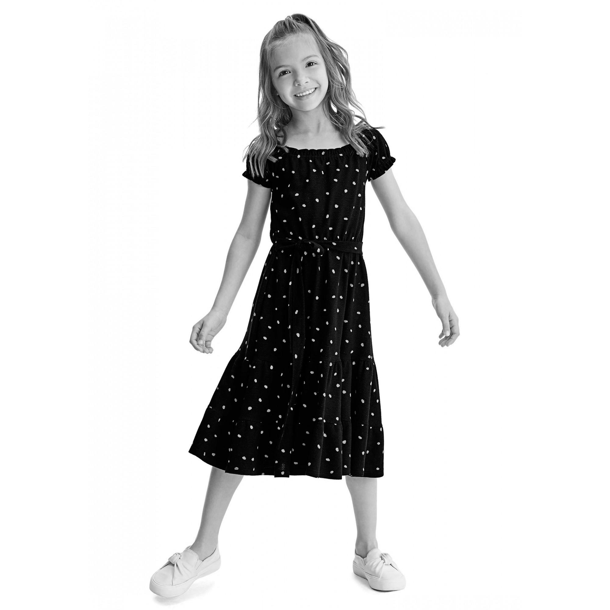 Vestido MIDI Infantil Verão Verde Coração Malwee