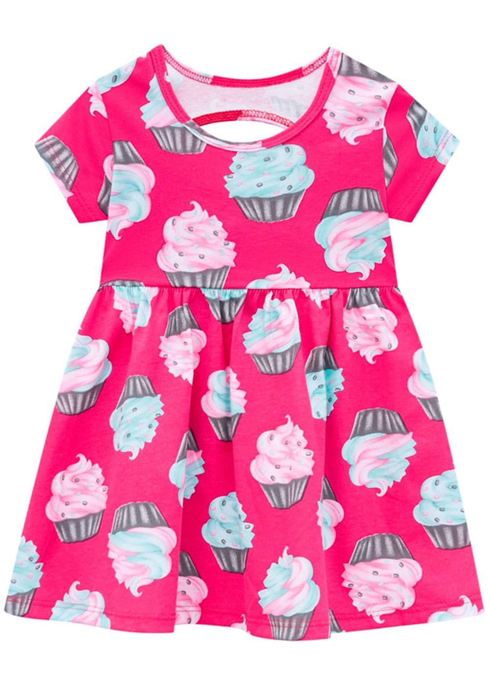 Vestido Infantil Rosa Choque Estampa Sorvete - Kyly