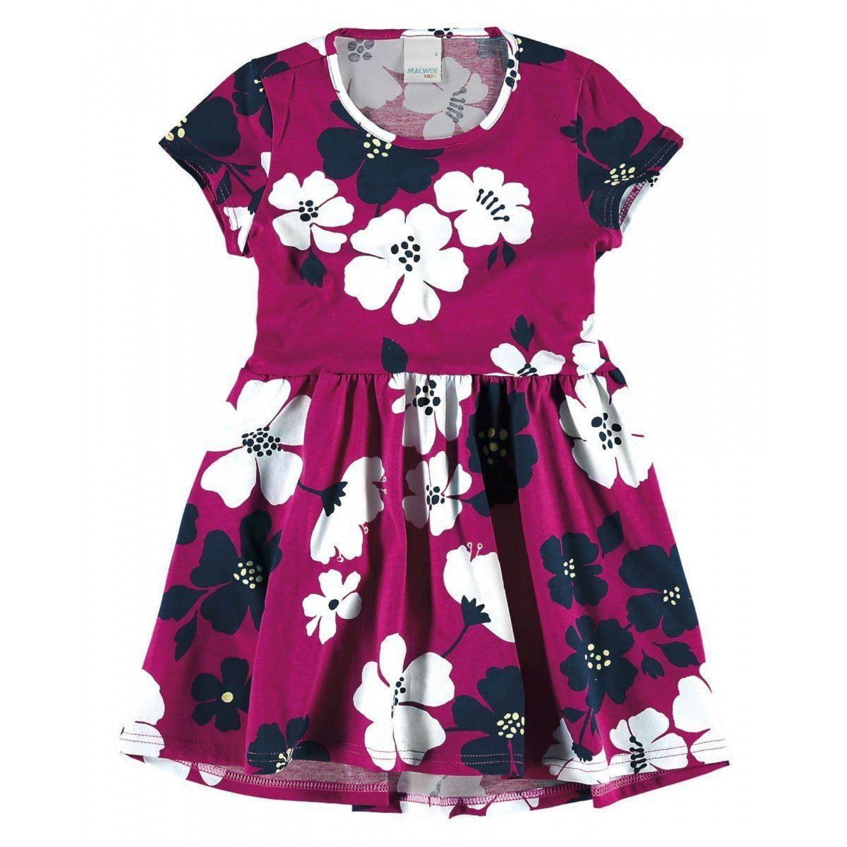 Vestido Infantil Rosa e Branco Floral Malwee