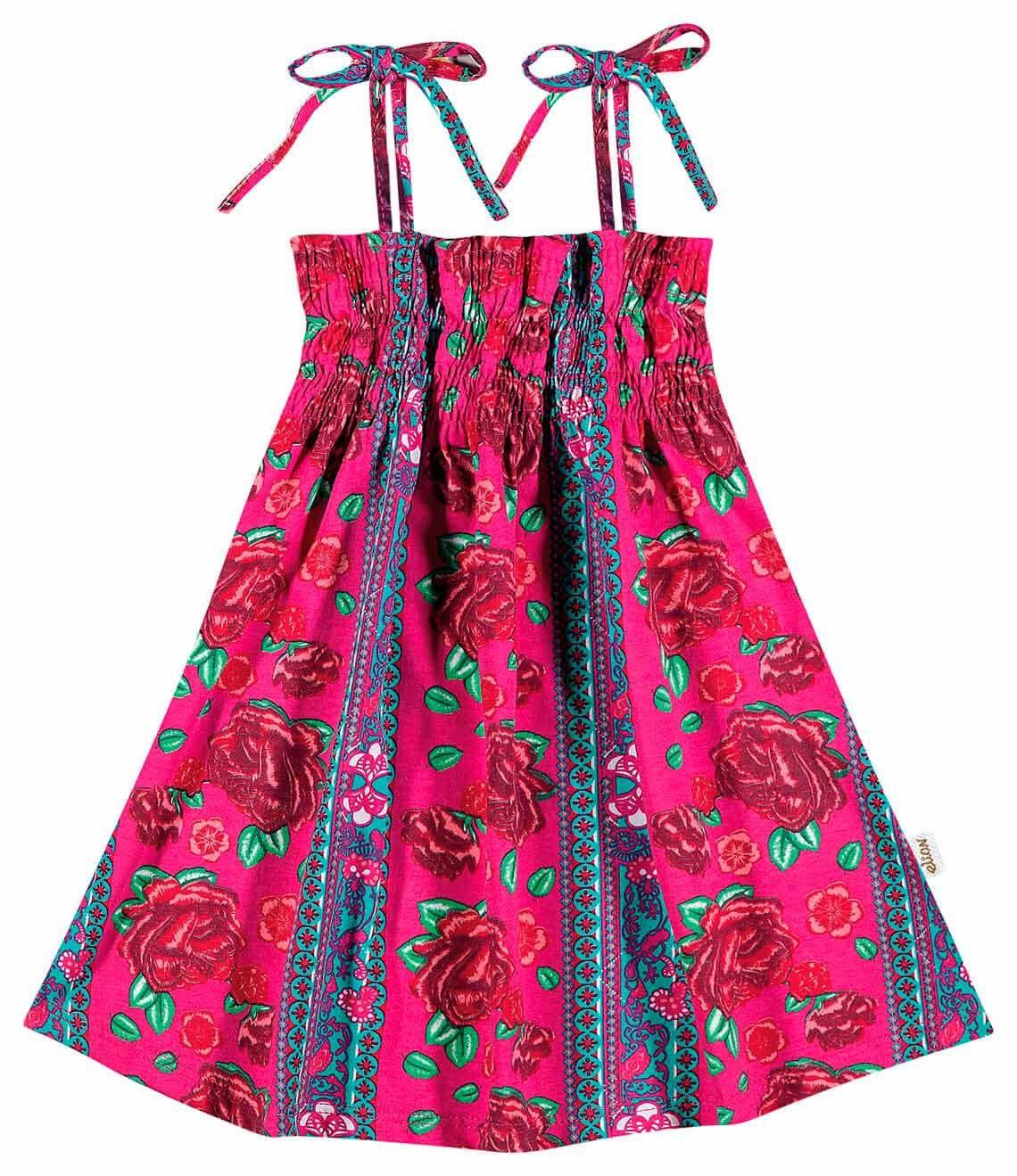 Vestido Infantil Rosa Flores Elian