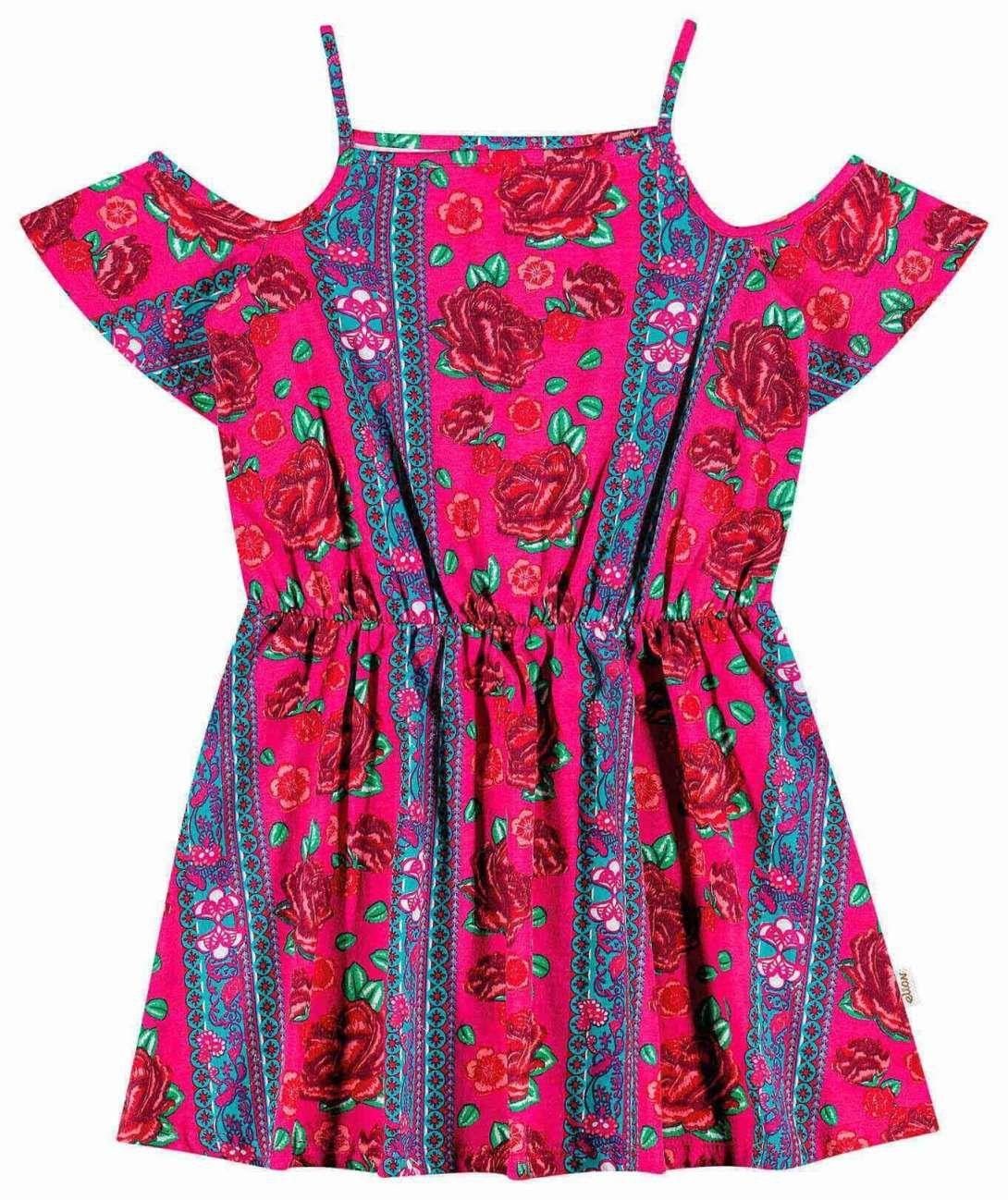 Vestido Infantil Rosas Flores Elian