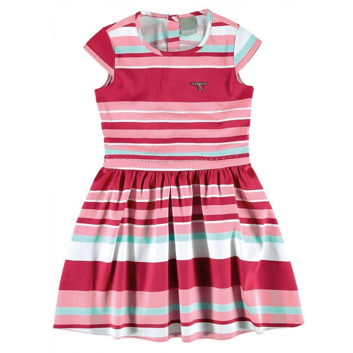 Vestido Infantil Rosa Listrado Carinhoso