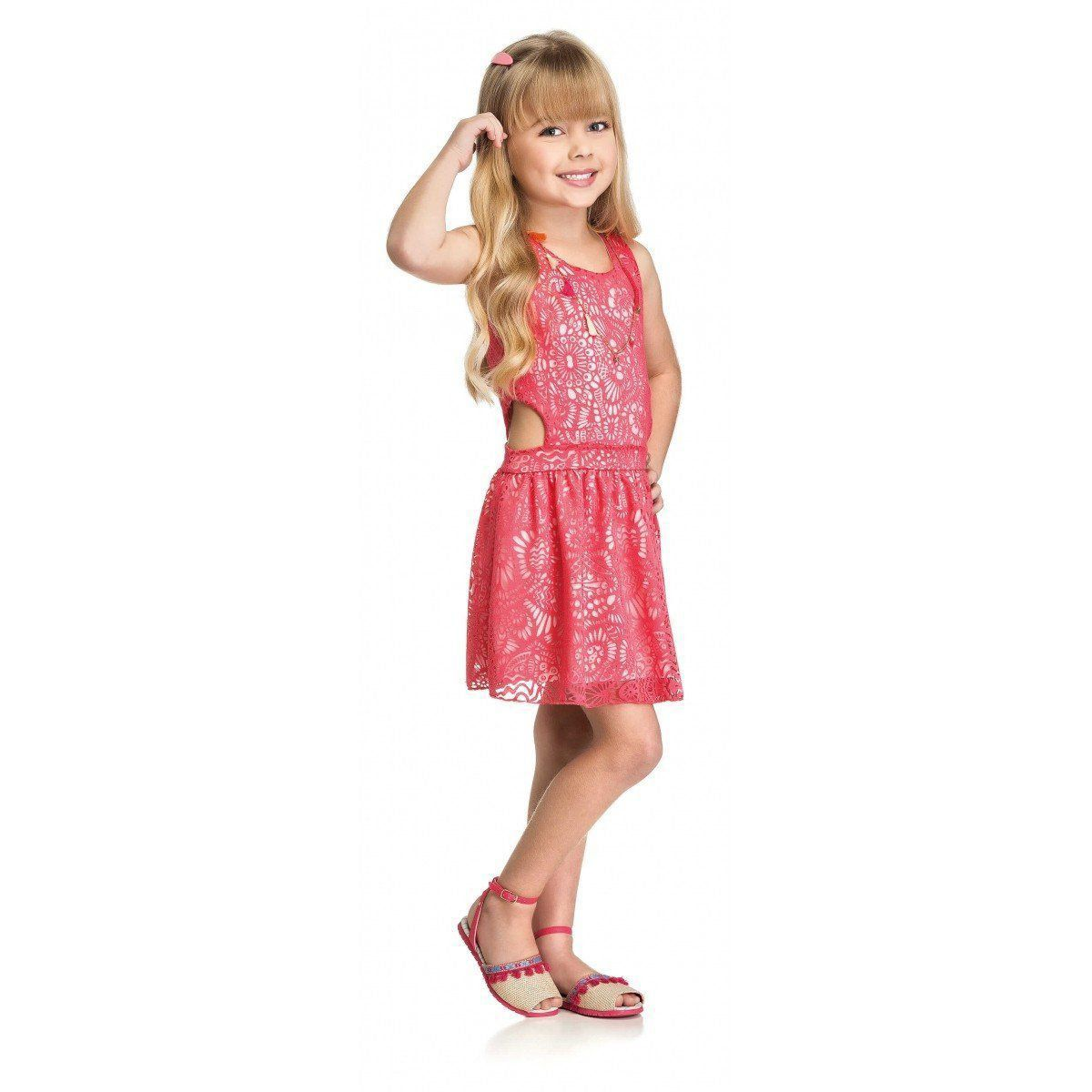 Vestido Infantil Rosa Tule Elian