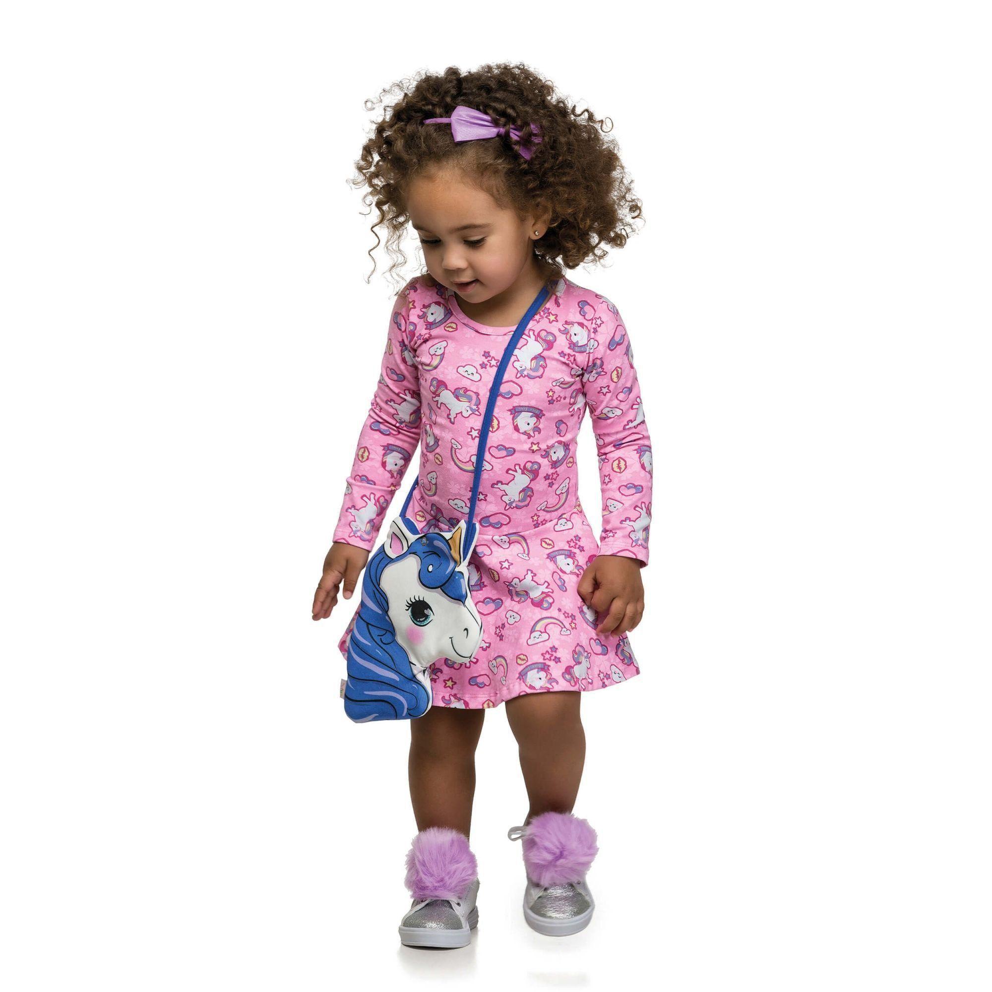 Vestido Infantil Inverno Rosa Unicórnio Elian