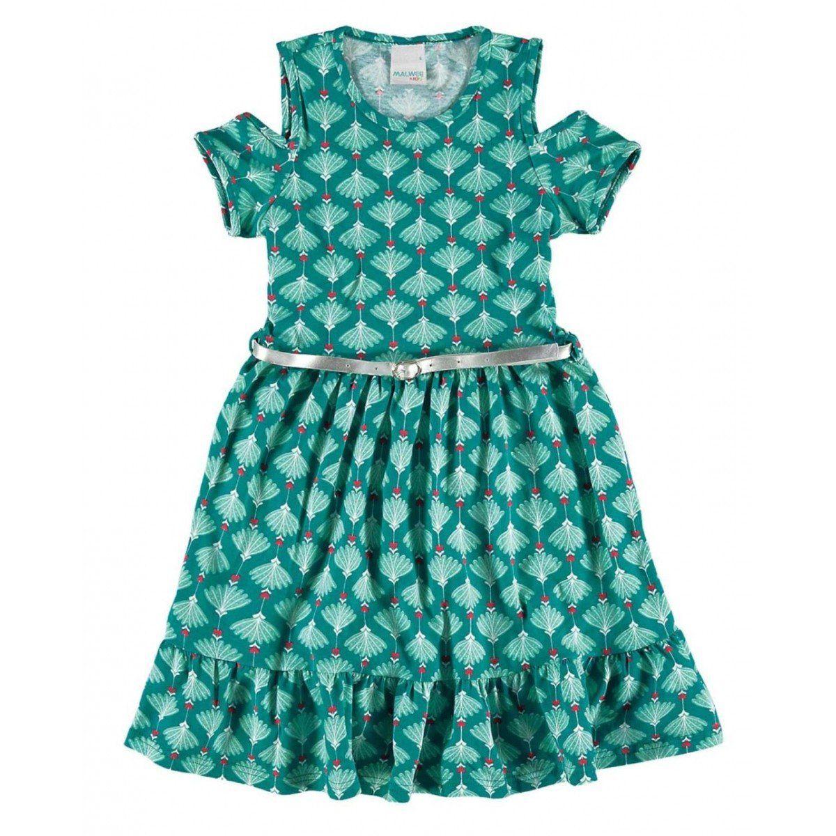 ba5e4ac05c Vestido Infantil Feminino Verde Verão Malwee