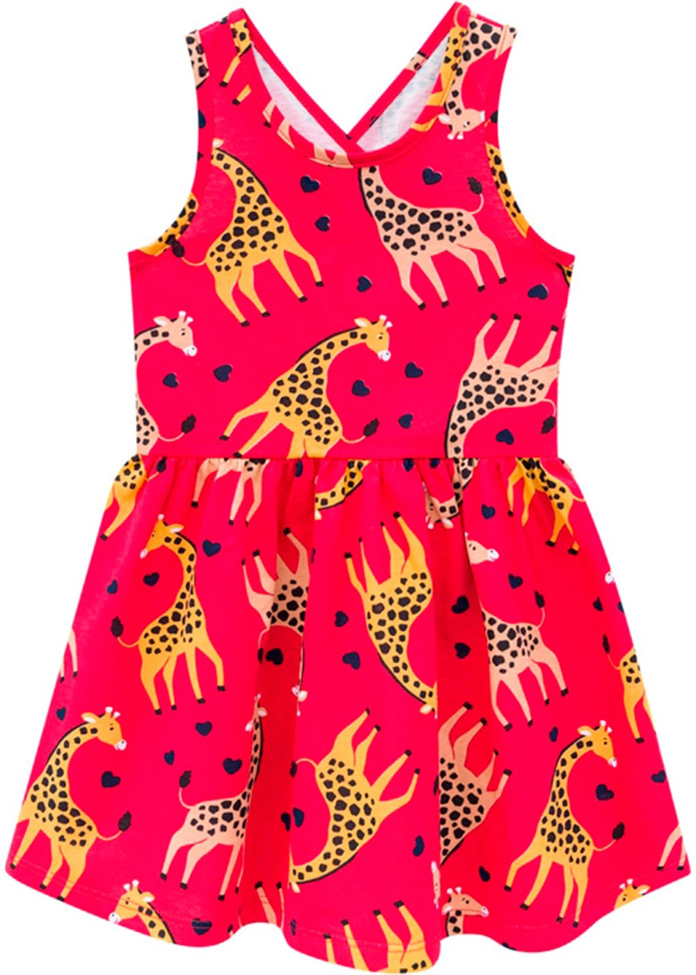Vestido Infantil Vermelho Estampa Girafa - Kyly