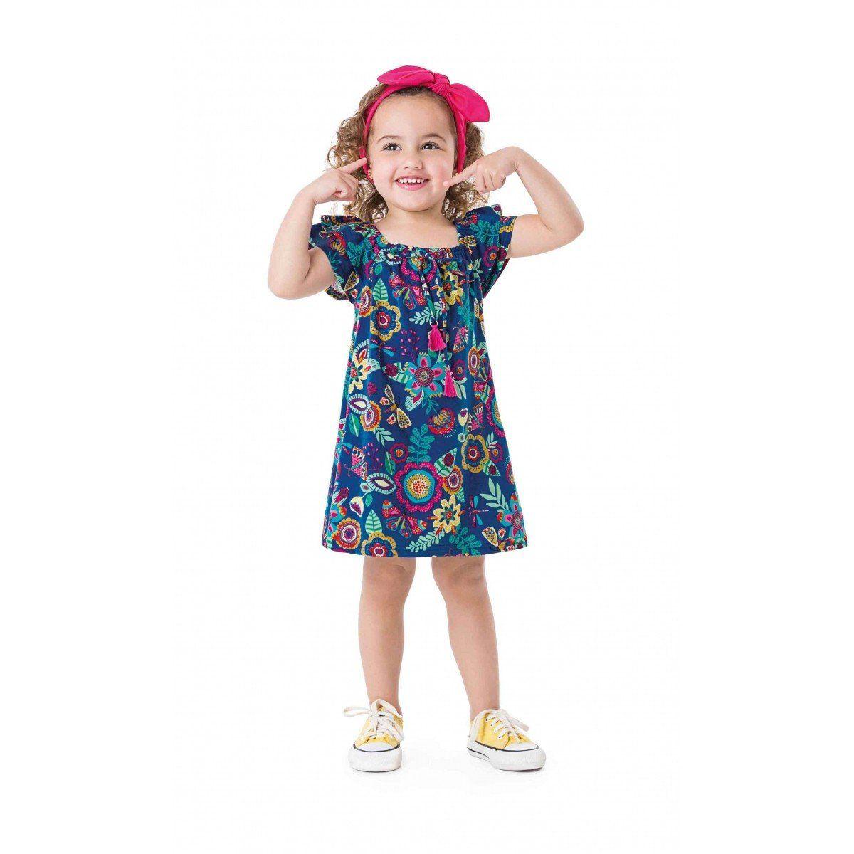 Vestido Infantil Azul Flores e Borboletas Zig Zig Zaa