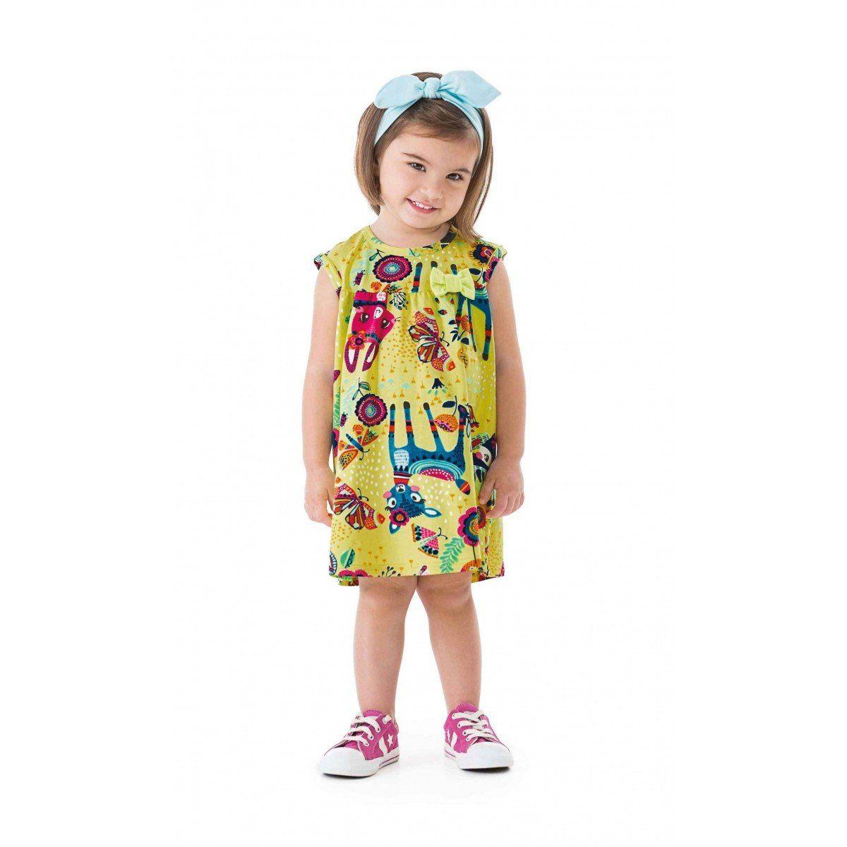 Vestido Infantil Amarelo Bichinhos Zig Zig Zaa
