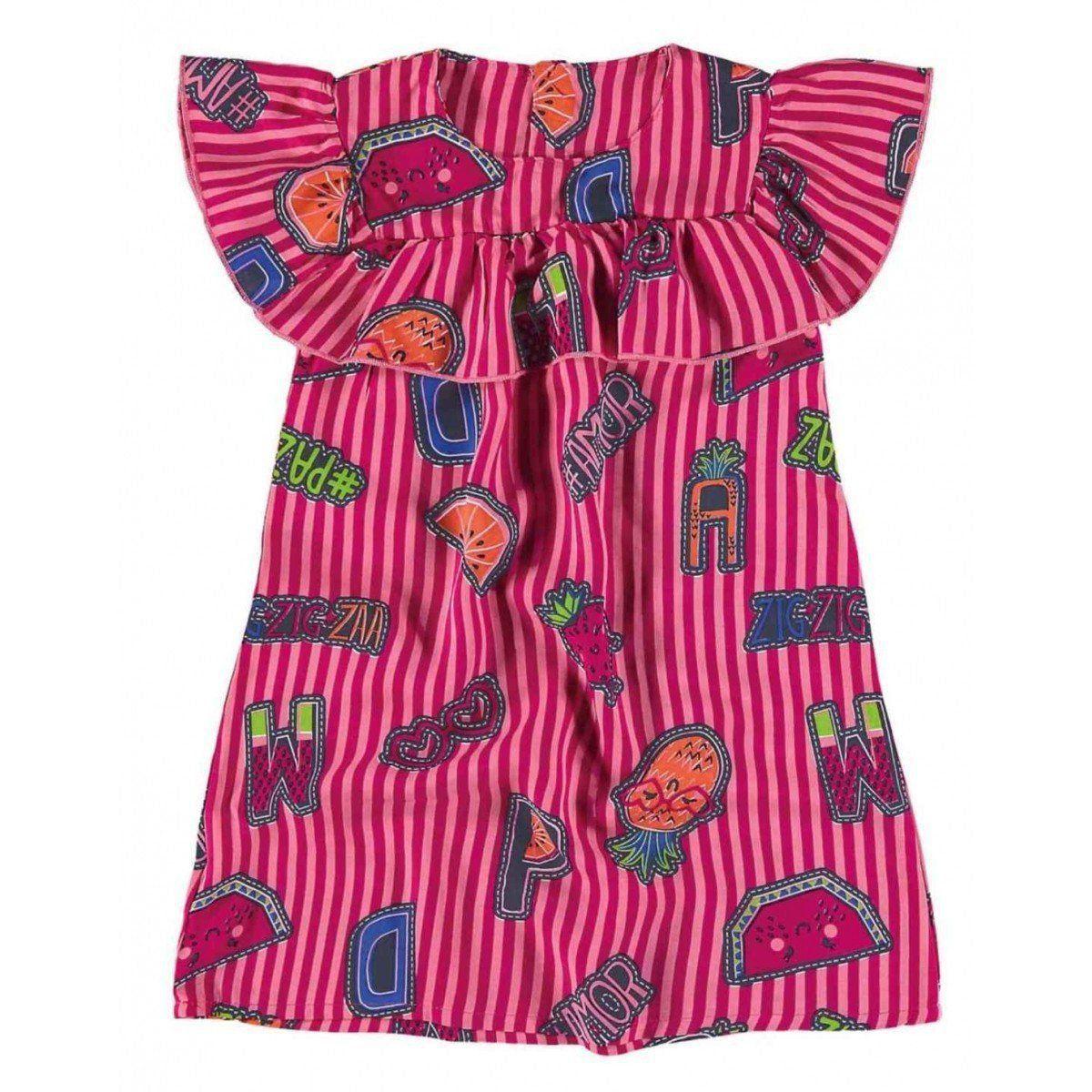 Vestido Infantil Rosa Frutinhas Zig Zig Zaa