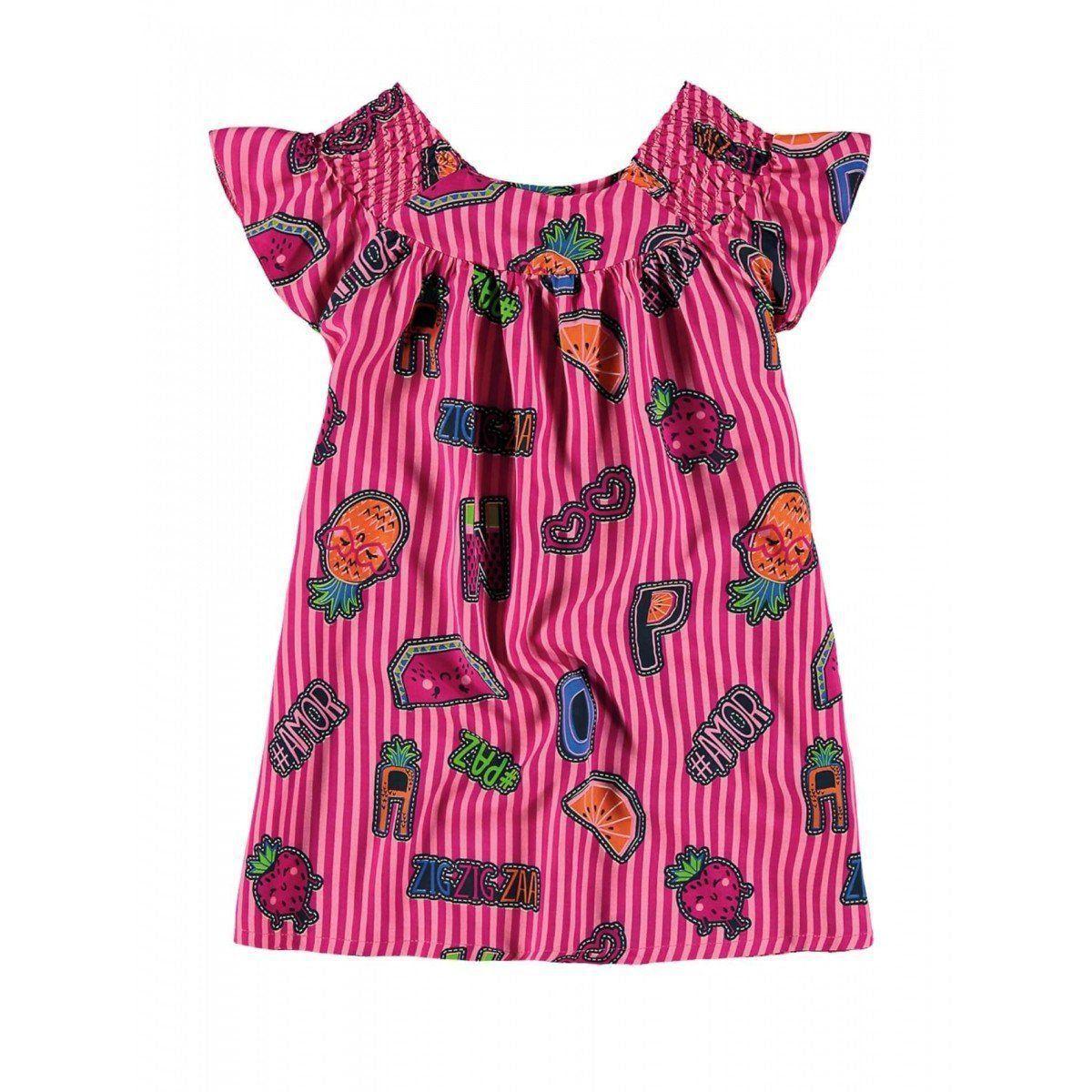 Vestido Infantil Rosa Listrado Frutinhas Zig Zig Zaa