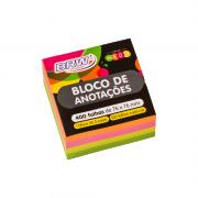 Bloco Autoadesivo Neon 76mm x 76mm Colorido 400 Folhas BRW