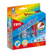 Cola Glitter Lavável 23g 6 Cores Tris