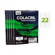 Etiqueta A4 25,4mm x 99mm 100 Folhas CA4354 5 Unidades Colacril